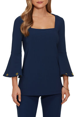 beyond travel grommet three-quarter sleeve top