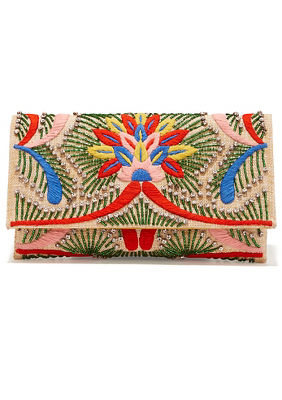 Beaded embroidered clutch