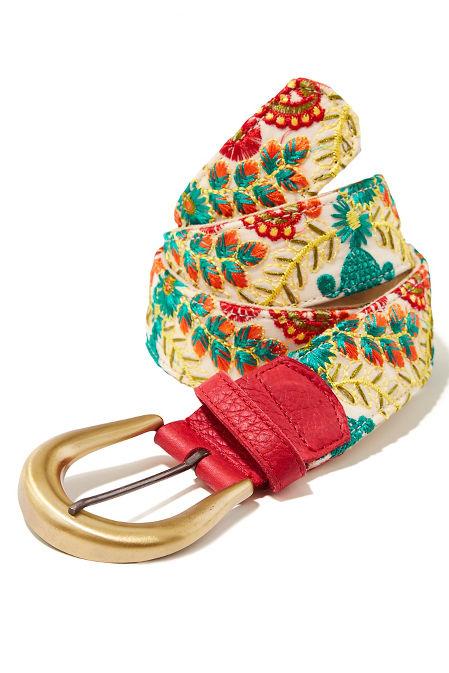 Floral embroidered buckle belt image