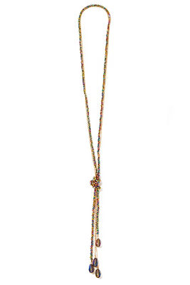 Iridescent long beaded necklace