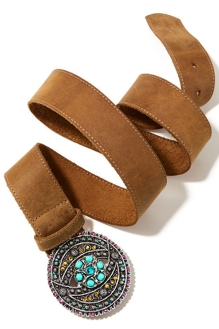 Multi turquoise buckle belt image
