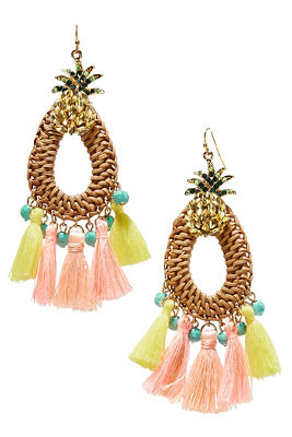 Pineapple fringe raffia earrings