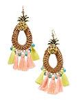 Pineapple Fringe Raffia Earrings Photo
