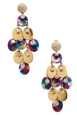 Rhinestone resin dangle earrings