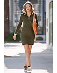 Chic Snap Front Collared Dress Photo