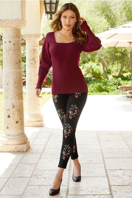 Square Neck Puff-Sleeve Sweater image