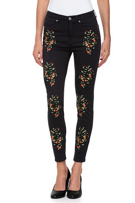 Multicolor Flower Embroidered Ankle Jean