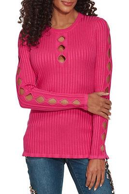 ribbed multi keyhole sweater
