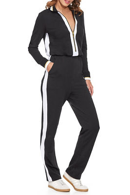 Chic Zip-Up Track Stripe Jumpsuit