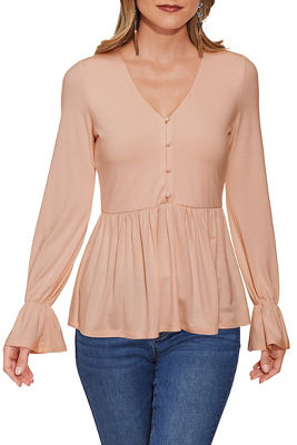 Button Babydoll Long-Sleeve Top