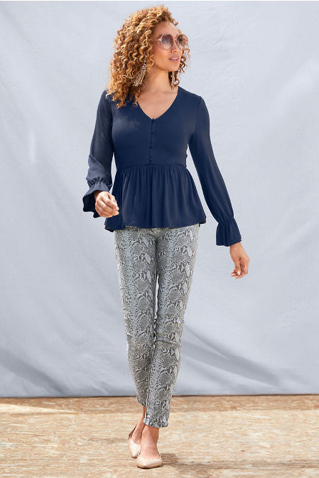 Button Babydoll Long-Sleeve Top image