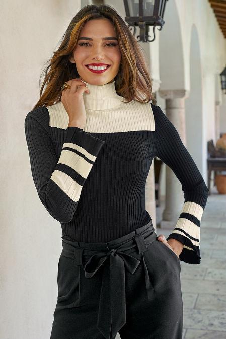 Color Block Turtleneck Sweater image