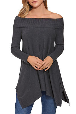 Relaxed Fold Over Tunic Sweater