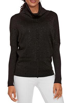 Embellished Front Turtleneck Sweater