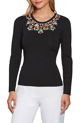 Pearl and Jewel Trim Sweater