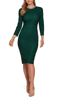 jeweled neckline sheath dress