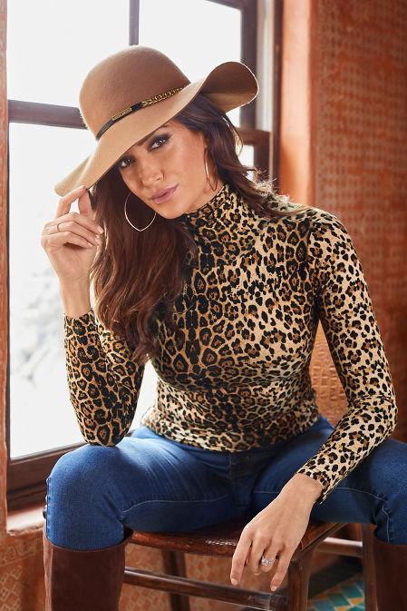 Leopard Turtleneck Long-Sleeve Top image