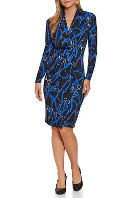 long-sleeve chain print dress
