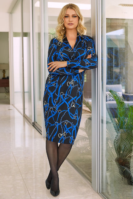 Long-Sleeve Chain Print Dress image