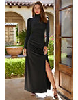 Long-sleeve Mock Neck Ruched Gown Photo