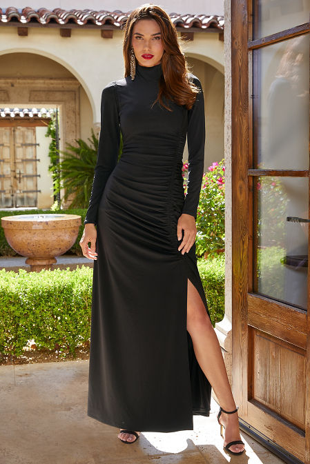 Long-Sleeve Mock Neck Ruched Gown image