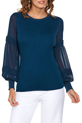 Pleated Sheer Sleeve Sweater