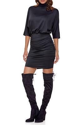Mock-Neck Blouson Dress