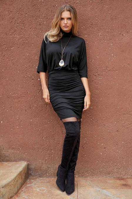 Mock-Neck Blouson Dress image