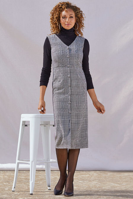 Plaid Covered Button Dress image