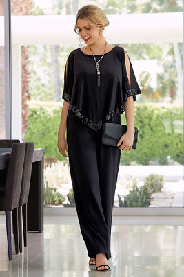 Sequin Trim Overlay Jumpsuit