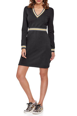 V-Neck Track Stripe Sport Dress