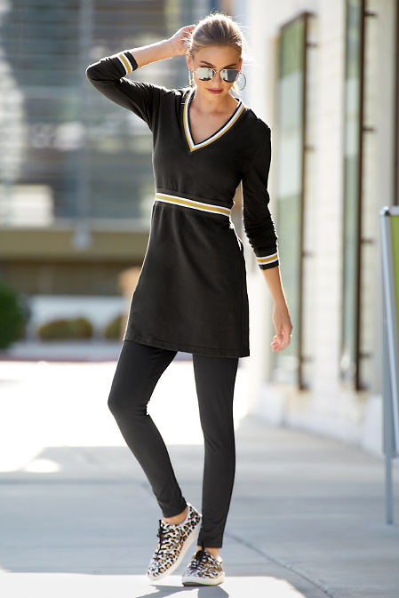 V-Neck Track Stripe Sport Dress image
