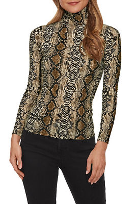 snake print turtleneck top