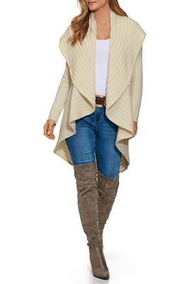 Ribbed Design Drape Cardigan