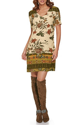 Printed V-Neck T-shirt Dress