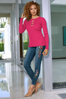 Multicolor Embellished Ankle Jean