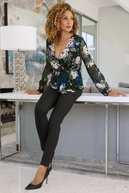Ruched Sleeve Floral Surplice Blouse image