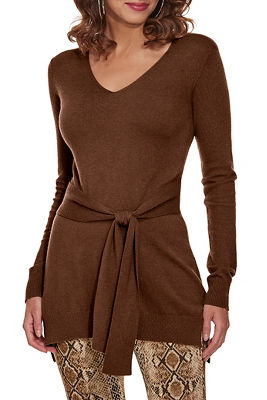 tie front tunic sweater