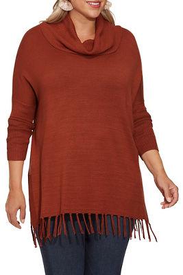 Fringe Cowl Turtleneck Poncho Sweater