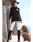 Fringe Cowl Turtleneck Poncho Sweater Photo