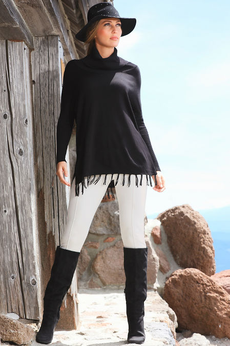 Fringe Cowl Turtleneck Poncho Sweater image