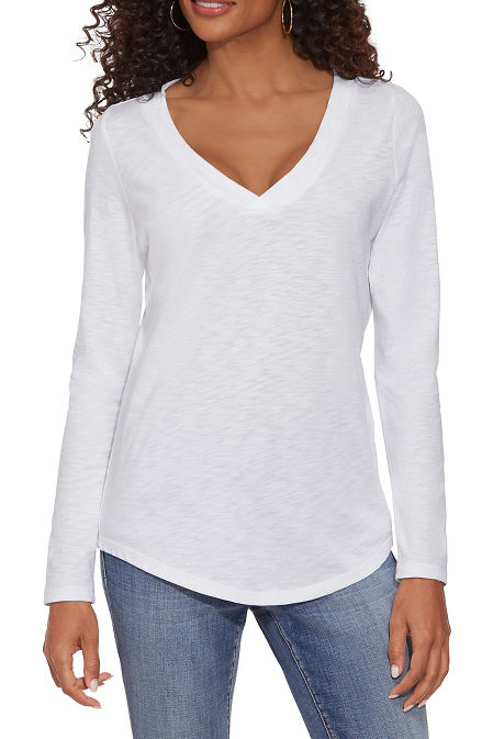 Long Sleeve V-Neck Casual Tee image