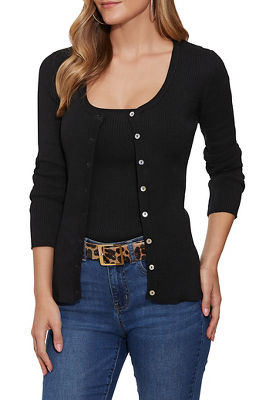 Ribbed Button-Up Cardigan