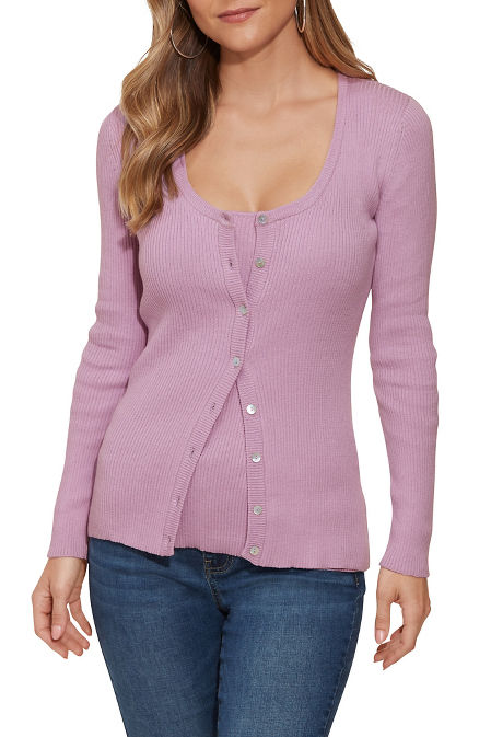 Ribbed Button-Up Cardigan image