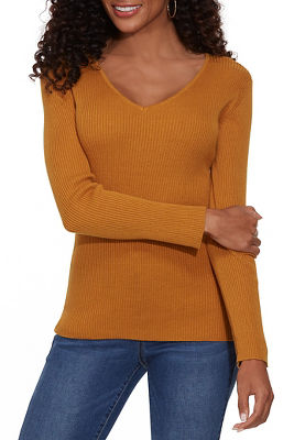 Ribbed V-Neck Pullover Sweater