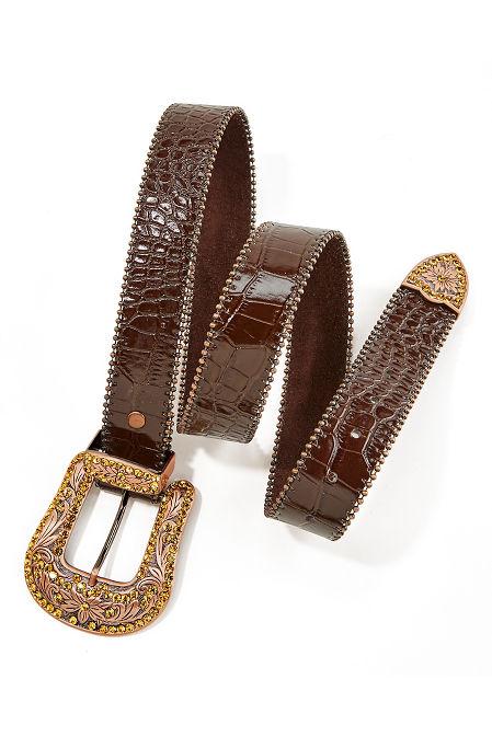Rose Gold Croco Embossed Belt image