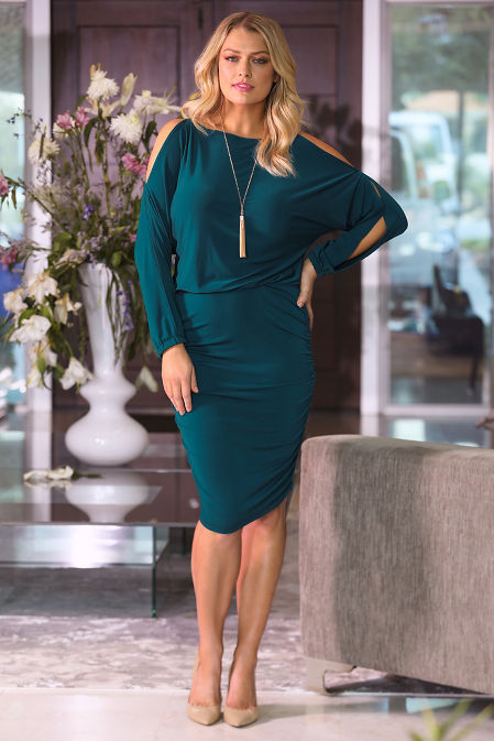 Beyond Basics Cold Shoulder Ruched Blouson Dress image