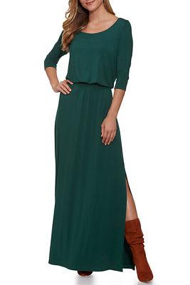 Beyond Basics Three-Quarter Sleeve Wide Neck Maxi Dress