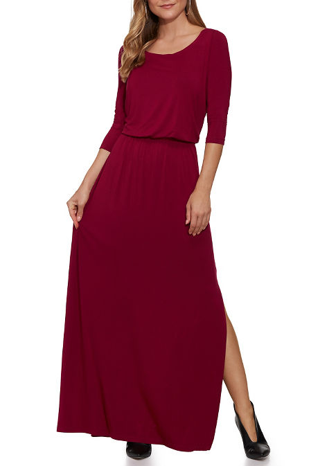 Beyond Basics Three-Quarter Sleeve Wide Neck Maxi Dress image