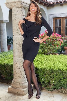 Proper ponté wide-neck dress